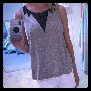 Pixley small gray with black lace detail tank